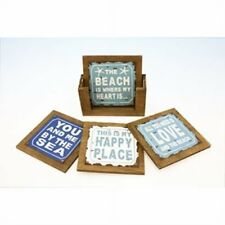 4 Beach Sayings Coasters in Wood Holder