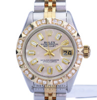 Ladies Rolex Datejust 69173  26mm Pink MOP Diamond Dial Diamond Bezel-QUICKSET