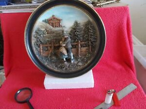 "RARE & GORGEOUS 15 "" DIA. ""MUSTERSCHUTZ"" GERMAN CERAMIC WALL PLAQUE...WOW !!!!!!"