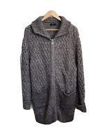 Kaleidoscope Size 12 Navy Boiled Wool Mix Longline COATIGAN Coat Cardigan £91