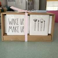 Rae Dunn WAKE UP MAKE UP Brush Holder Canister Vanity Set - Brand New