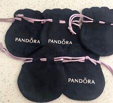 5x Pandora Jewelry Black Velvet Gift Bags/Pouches - Lot of 5 Bulk
