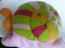 i- DOUDOU  TAO TAPE A L'OEIL ESCARGOT ROSE VERT ORANGE 19 CMS - RARE