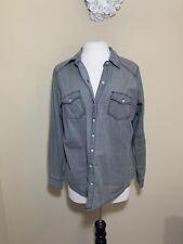 Women's Plus Size 00 Torrid Long Sleeve 100% Cotton Button Down Top Gray Denim