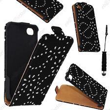 Housse Coque Etui en PU cuir flip avec STRASS Noir Apple iPhone 4S 4+Mini Stylet