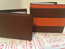 NWT Coach Men 74723  Bar Stripe Compact ID  Leather Wallet MSRP $188