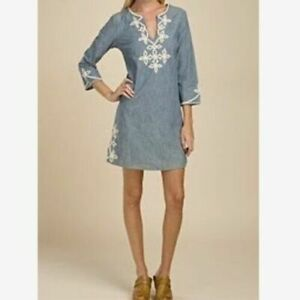 Lucky Brand Blue Chambray Mini Tunic Dress Cotton Ivory Cord Embroidery XS Boho