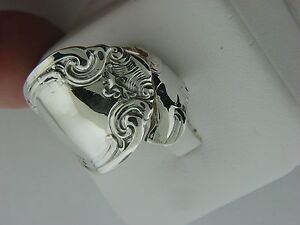 """ANTIQUE ALVIN """" FRENCH SCROLL """" PATTERN S/S X- LARGE SPOON RING SIZE 5 1/2"""