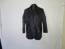 Terry Lewis Classic Luxuries Men's Black Leather Buttons Up Coat Jacket Size XS