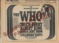 The Who 1969 Tommy Fillmore East 1/2 Page Orig Ad - Lot Of 6 Amazing Items Look>