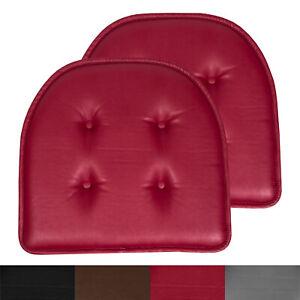 U-Shape Memory Foam Chair Pad Cushion No Slip Faux Leather 2, 4, 6 or 12 pack