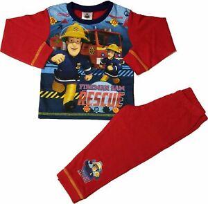 Boys Character Fireman Sam Pyjamas Nightwear Long Sleeve Fire Engine Red