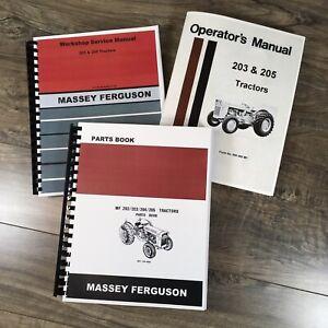 SET MASSEY FERGUSON MF 205 TRACTOR SERVICE MANUAL PARTS CATALOG OPERATORS REPAIR