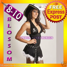 B76 Ladies Pirate Wench Fancy Dress Costume & Hat 8 10