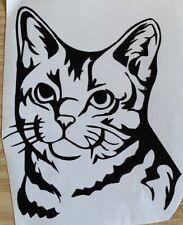1x Cat Tabby Vinyl Sticker Decal Graphic Car Van Window Black