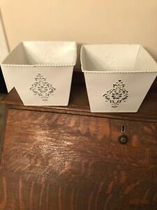 Decorative Two White Tin Metal Planters Burton With Design