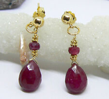 GENUINE FACETED AFRICAN RED RUBY BRIOLETTE 14K GOLD DANGLE EARRINGS