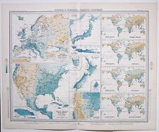 1899 LARGE WEATHER METEOROLOGY MAP ISOBARS & ISOHYETS ANNUAL RAINFALL PRESSURE