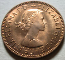 1960 Great Britain Half Penny Coin. RED GEM UNC. (W218B)