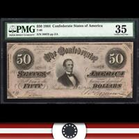 T-66 1864 $50 CONFEDERATE CURRENCY PMG 35  *CIVIL WAR BILL*   30078