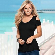 Damen Shirt Sommer Bluse Tshirt Top Kurzarm Schulterfrei Freizeit Oberteil Hemd