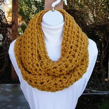 Mustard INFINITY SCARF Loop Cowl, Gold Yellow Crochet Knit, Chunky Bulky Winter