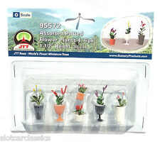 "JTT SCENERY 95572 ASSORTED POTTED FLOWER PLANTS 4  O SCALE  1 1/2"" HIGH   6/PK"