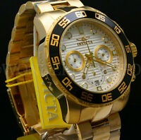 New Invicta Pro Diver 50MM Chrono 18K Gold Plated Silver Dial S.S Bracelet Watch