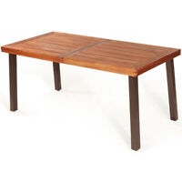 Rectangular Acacia Wood Dining Table Rustic Furniture  Indoor &Outdoor