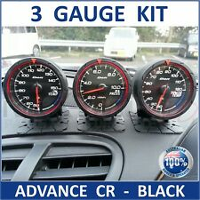 3 X DEFI CR Style Gauge - BLACK - 60mm; Link Meter, BF C2 Advance Boost Temp AFR