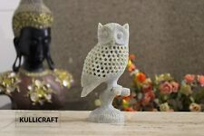 Marble Carving Showpiece Owl Figurine for Home Decor (Beige)