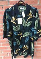 $115 TOMMY BAHAMA MENS 'BIRDS AFLOAT' POLO BLACK SILK COTTON GOLF SHIRT XXL 2XL