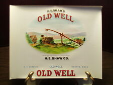 Vintage EMBOSSED Cigar Label - H. E. SHAW - OLD WELL - BOSTON, MASS.