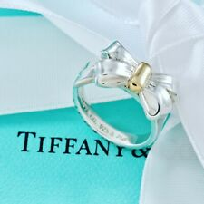 Tiffany & Co. Silver & 18kt Gold Ribbon Bow Ring Size 4 w/ Packaging