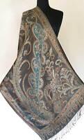 Turquoise & Black Silk Shawl Reversible. Jamawar Iridescent Silk Paisley Shawl