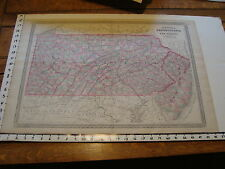 vintage map: 1864 Johnson's Atlas Large Map of PENNSYLVANIA & NEW JERSEY