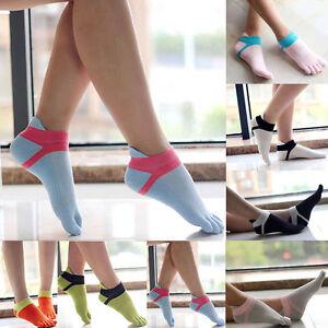Womens Cotton Toe Socks Pure Sports Five Finger Socks Breathable 1 pairs .f