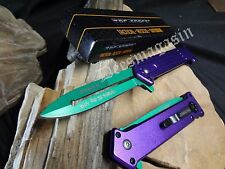 Tac-Force Joker Folding Pocket Knife Batman Why So Serious Purple Green Dagger
