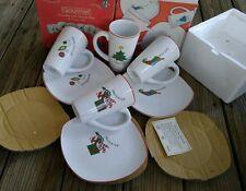Gourmet by Fitz & Floyd Ff Christmas Porcelain 4 Mug & 4 Plate Set 8 pcs in box