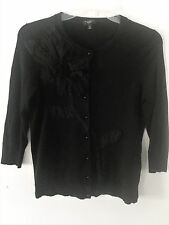 WOMENS TALBOTS BLACK BUTTON FRONT CARDIGAN SWEATER W/ DECORATION, SIZE S PETITE