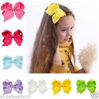 6'' Bow Hair Bow Girls Clip Slide Grip Hairpins Grosgrain Ribbon Headwear Gift