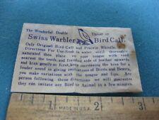 Vintage 1950's-60's Swiss Warbler Bird Call in original package, made in Japan