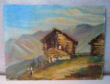Vintage S. Bianchi Italy Impressionist Oil Painting Hay Barns in Italian Alps