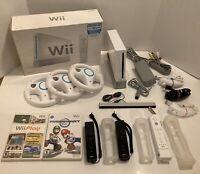 Nintendo Wii Console Mario Kart Bundle in Original Box 3 Controllers + 3 Wheels