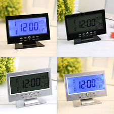 Voice Control Back-light LCD Alarm Desk Clock Weather Monitor Calendar LE
