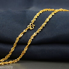 """New Authentic 24k Yellow Gold Necklace Elegant Singapore16.5""""L Women Lucky Chain"""
