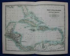 Original antique map WEST INDIES, CENTRAL AMERICA, CUBA, PANAMA, Johnston, 1896