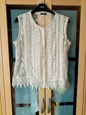 Ladies ROMAN cream sheer crochet patterned top,size 14button front,very pretty