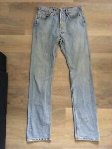Levis 501 Waist 31 Leg 34 Light Blue Jeans 5 Button