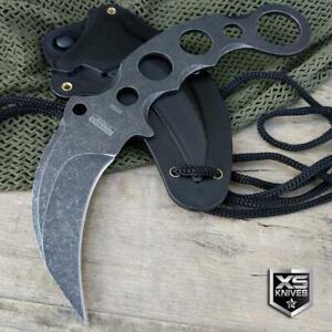 Tactical STONEWASHED Survival Hunting COMBAT Karambit Fixed Blade NECK Knife